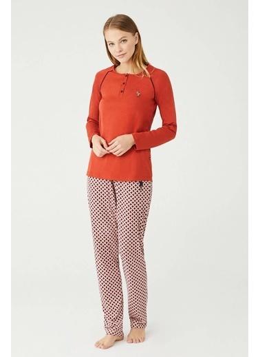 U.S. Polo Assn. Kadın Patlı Pijama Takım Oranj